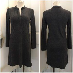 Charcoal grey tunic henley neckline dress